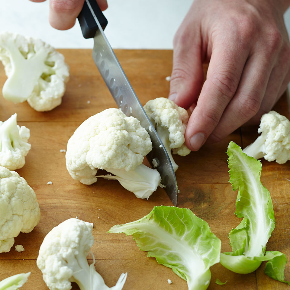 trim cauliflower florets with knife