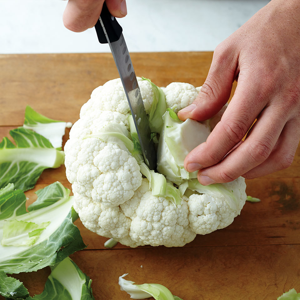 cut stem off cauliflower head