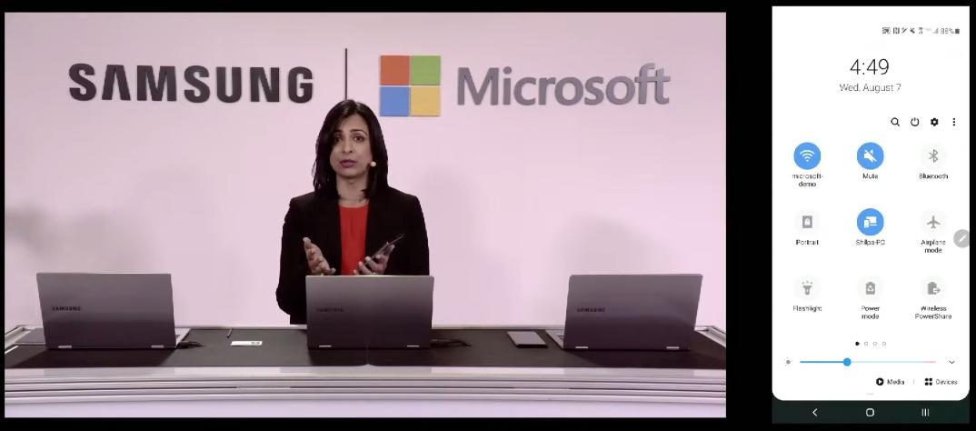 Microsoft on Note10 demonstration